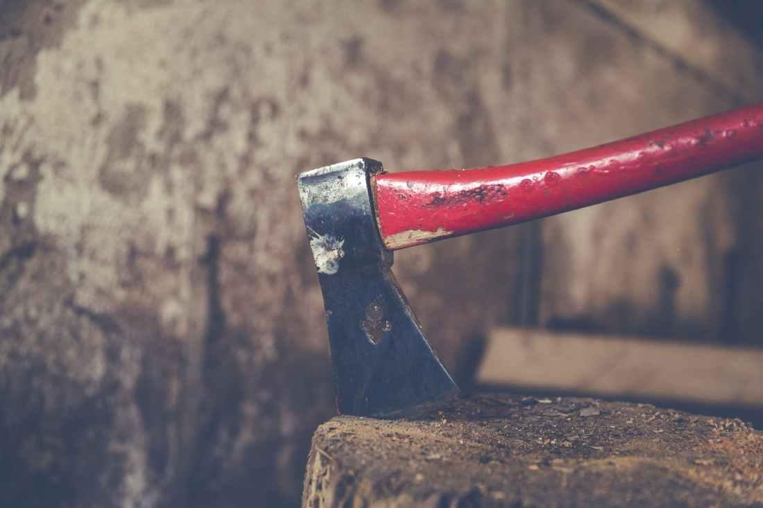 axe on tree trunk