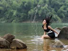 fashion woman water model