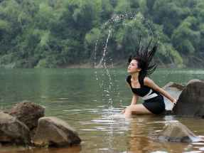 fashion woman water model