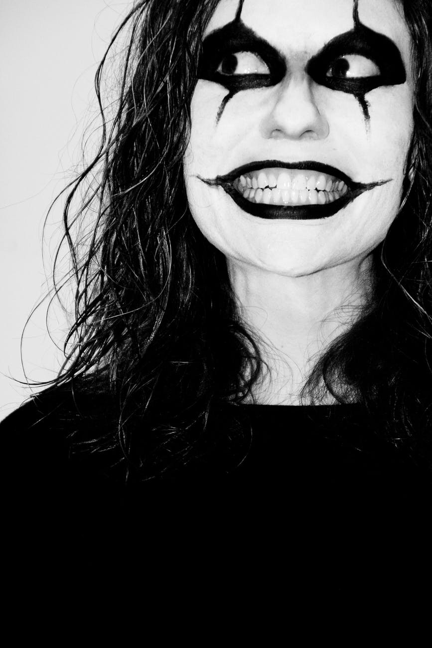 black and white person feeling smiling
