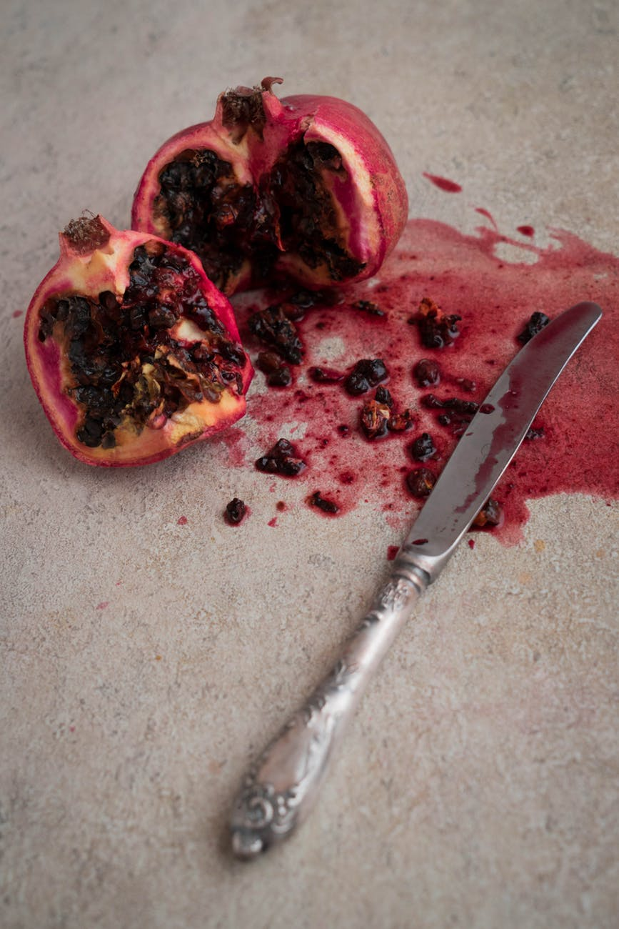 pomegranate and bread knife