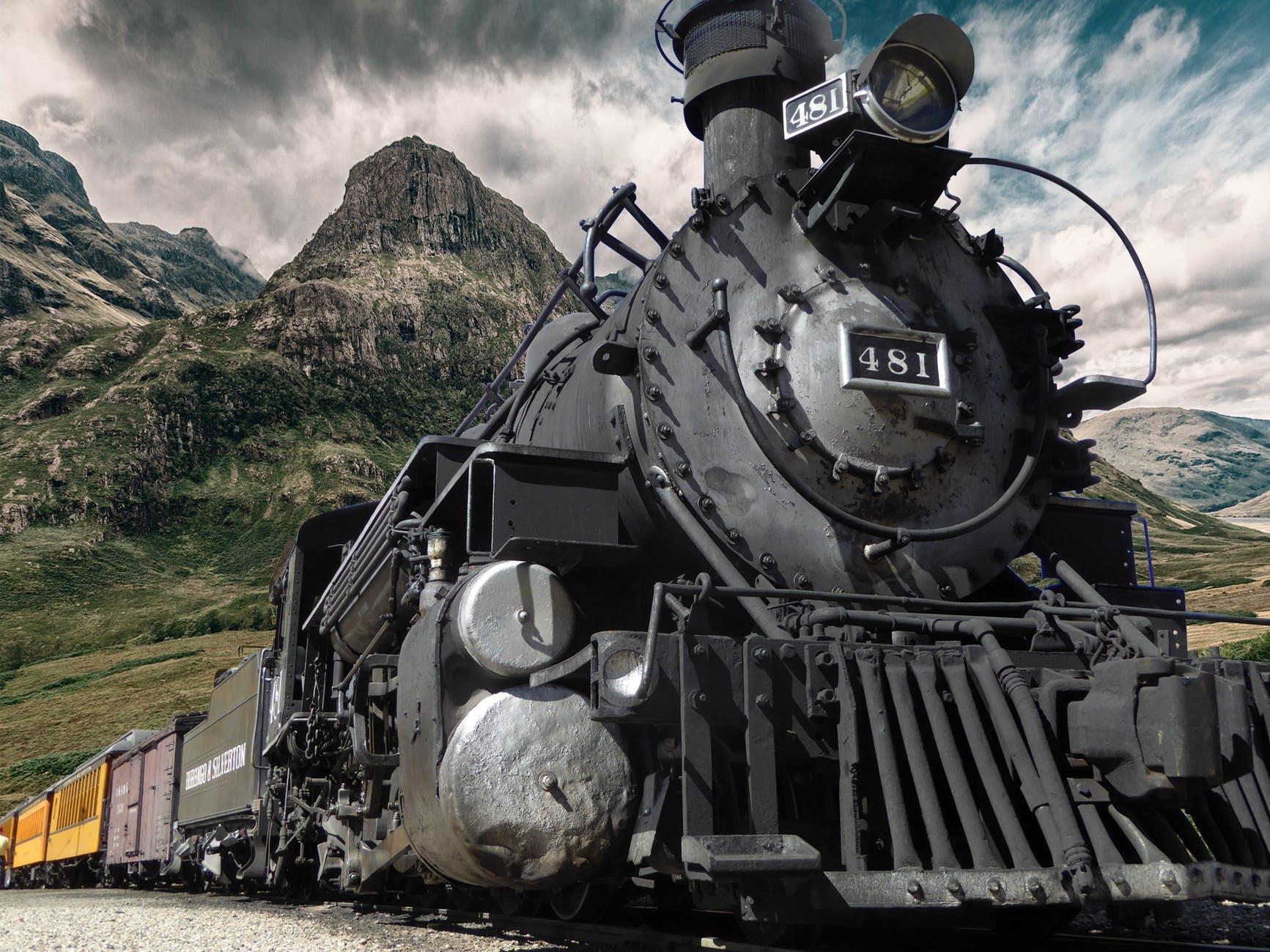 close up engine landscape locomotive