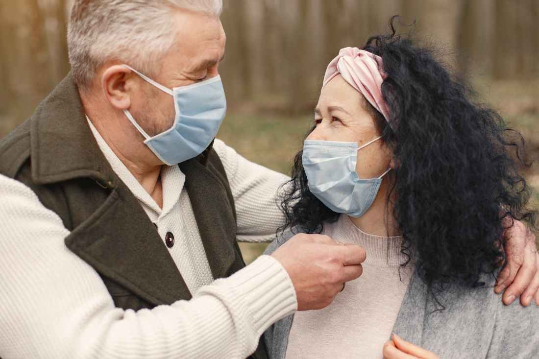 photo of man and woman wearing face masks